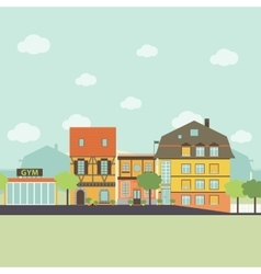 Small urban town life infographic elements Flat vector image