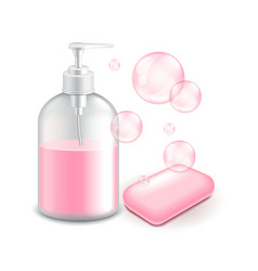 soap and bubbles isolated on white vector image