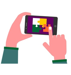 Solving puzzle pieces on a smart phone vector
