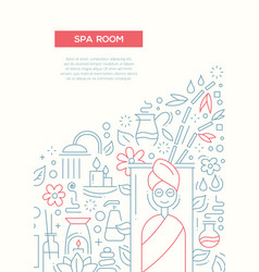 Spa room - line design brochure poster template a4 vector