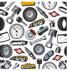 Spare parts of car and auto seamless pattern vector