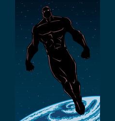 Superhero flying in space vector