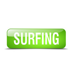 Surfing green square 3d realistic isolated web vector