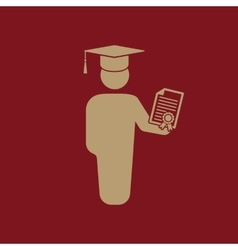 The graduate with diploma icon school and vector