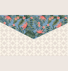 tropical envelope angle beige background vector image