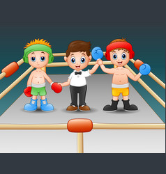 Two boxers at the boxing ring boxers in blue glov vector