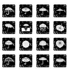 umbrella icons set grunge vector image