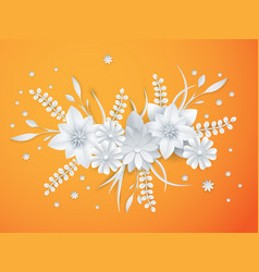 White paper flowers floral background vector