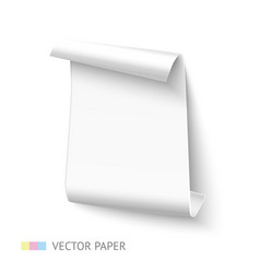White vertical curved paper sheet banner with roll vector