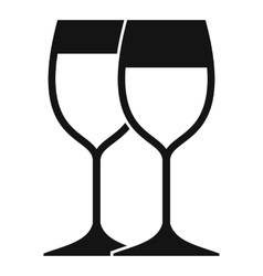 Wine glasses icon simple style vector