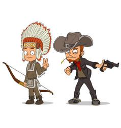 Cartoon indian boy and cowboy characters set vector