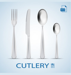 cutlery set of fork spoon knife and dessert vector image vector image
