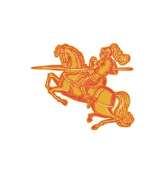 Knight Full Armor Horseback Lance Etching vector image vector image