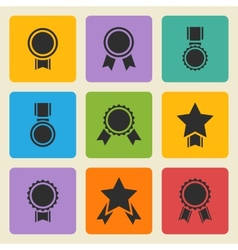 black medalaward icons set vector image