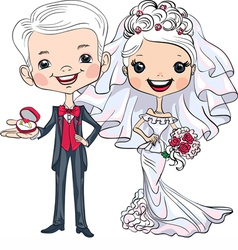 Fashionable beautiful bride and groom vector image