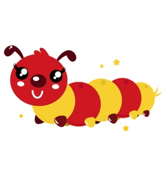 Happy cartoon caterpillar vector image vector image
