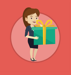 joyful caucasian woman holding box with gift vector image vector image