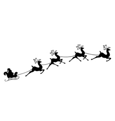 Santa Claus rides in a sleigh on the reindeer vector image
