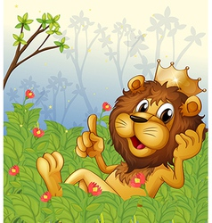 A lion with a crown at the forest vector image