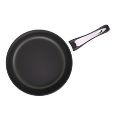 Black metal frying pan isolated on a white vector