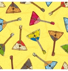 Seamless pattern with colorful wooden balalaikas vector