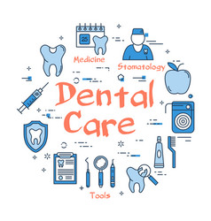 blue round dental care concept vector image