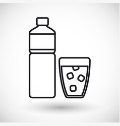bottle of water and glass thin line icon vector image vector image