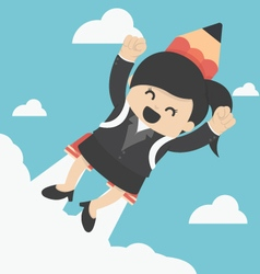 Business Woman flying with a rocket pencil vector image