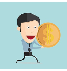 cartoon with dollar coin in flat design vector image vector image