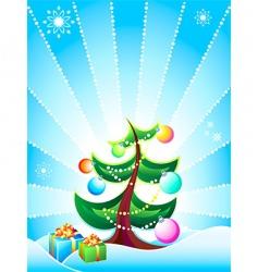 Christmas tree card vector image vector image