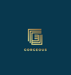 elegant line letter g abstract sign emblem vector image