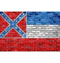 Flag of Mississippi on a brick wall vector image vector image