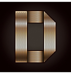 Letter metal gold ribbon - D vector image vector image