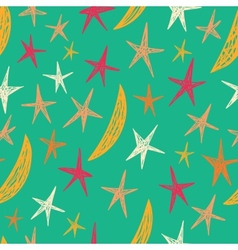 Seamless pattern with stars and moons Starry vector image vector image