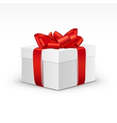 White Gift Box with Bright Red Ribbon Isolated vector image vector image