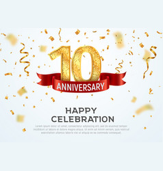 10 years anniversary banner template tenth vector image