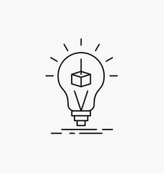 3d cube idea bulb printing box line icon isolated vector