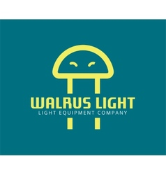 abstract walrus face like led logo template vector image