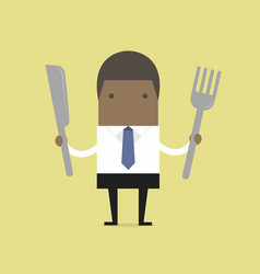 african businessman with fork and knife vector image