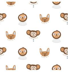 animal heads fun cute seamless pattern vector image