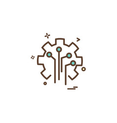artificial circuit intelligence icon design vector image
