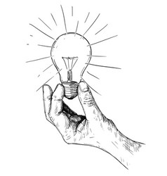 artistic drawing of hand holding light bulb vector image