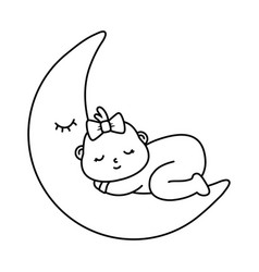 Basleeping on moon in black and white vector