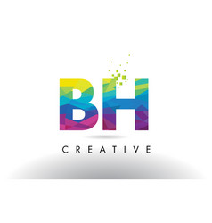 bh b h colorful letter origami triangles design vector image