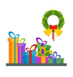 big pile of wrapped gift boxes lots of presents vector image