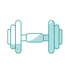 Blue silhouette shading dumbbell for training in vector