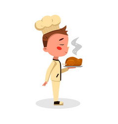 Boy professional chef character holding plate with vector