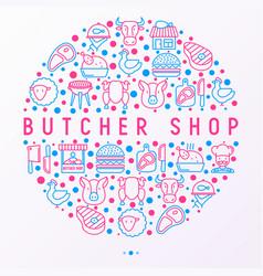 butcher shop concept in circle vector image