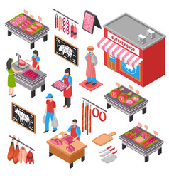 butcher shop isometric set vector image