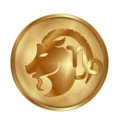 Capricorn gold medallion drive vector image